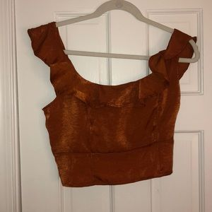 Burnt orange satin frill shirt NWT